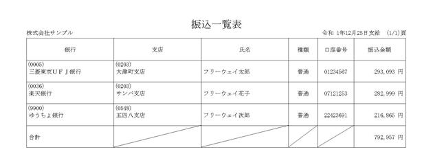 振込一覧表(給与)