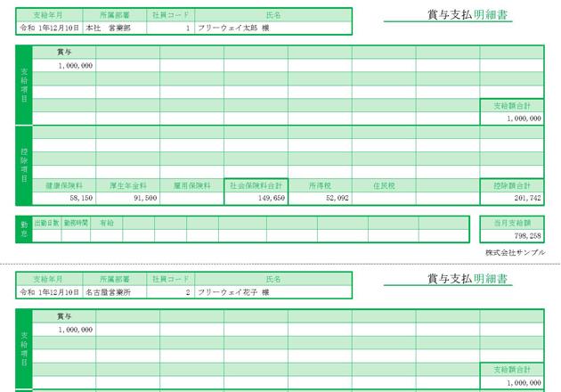 賞与明細書(1ページに3人分)